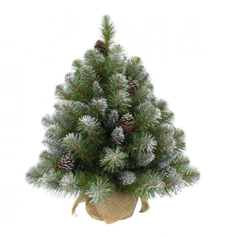 Купить Ель искусственная Триумф Норд Императрица с шишками 60 см в мешочке заснеженная, Triumph Tree, Зеленый с инеем, ПВХ