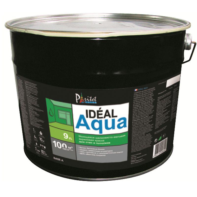 Краска Paritet Ideal Aqua Base С 9L для стен и потолковКраска Paritet Ideal Aqua Base С 9L для стен и потолков<br><br>Матовая водоэмульсионная акриловая краска для внутренних работ без белого пигмента (с обязательной колеровкой)<br><br>НАЗНАЧЕНИЕ:<br><br>Декоративная отделка стен и потолков внутри помещений<br><br>ПРЕИМУЩЕСТВА:<br><br>При окрашивании получается плотное матовое моющееся покрытие, выдерживающее многократное мытье и стойкое к истиранию, поэтому подходит для мест с высокой проходной нагрузкой;<br><br>Влагостойкость &amp;mdash; можно применять в помещениях с высокой влажностью: кухнях, санузлах;<br><br>Имеет отличные укрывные характеристики &amp;mdash; при правильном нанесении достаточно одного слоя;<br><br>Хорошо ложится на различные поверхности: оштукатуренные, шпатлеванные, гипсовые, отделанные древесно-плитными материалами,<br><br>гипсокартоном, а также на обои под покраску;<br><br>Не содержит в составе белый пигмент &amp;mdash; после колеровки получаются яркие и насыщенные цвета;<br><br>Краска образует ровное и прочное покрытие, которое не выцветет и не пожелтеет со временем;<br><br>Имеет экологичный состав - образует &amp;laquo;дышащее&amp;raquo; покрытие поэтому отлично подходит для жилых помещений и для мест с особыми требованиями к микроклимату;<br><br>Высыхает всего за 1 час;<br><br>Экономичность &amp;mdash; распределяется тонким слоем &amp;mdash; одним литром можно покрыть до 11 квадратных метров.<br><br>РЕКОМЕНДАЦИИ:<br><br>Рекомендации по работе:<br><br>Перед окраской следует очистить и загрунтовать поверхность;<br><br>Инструменты мойте водой сразу после окончания работы;<br><br>Не наносите состав на материалы, температура которых ниже +5 градусов.<br><br>Рекомендации по хранению:<br><br>Храните краску в плотно закрытой таре при температуре не ниже +5 градусов.<br><br>МЕРЫ ПРЕДОСТОРОЖНОСТИ:<br><br>Избегайте попадания красящего состава в глаза;<br><br>Производите работу в одежде и перчатках, защищающих открытые части тела.<br>Объем: 9 л; Вес: