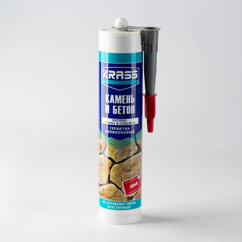 Герметик силиконовый Krass для бетона и натурального камня (серый), 300 млГерметик для бетона и натурального камня (серый) KRASS 300 мл<br><br>Силиконовый герметик для ремонтных, отделочных и строительных работ.<br><br>НАЗНАЧЕНИЕ:<br><br>Герметизация сверхпрочных (бетона, природного камня) и прочных (металла, стекла, древесины, кирпича, керамической плитки, пластмассы и пр.) поверхностей.<br><br>ПРЕИМУЩЕСТВА:<br><br>Долговечность (устойчив к усадке, влаге, деформации и потемнению швов, ультрафиолетовому излучению);<br>Универсальность (возможно использовать вместе с краской и лаком; заполнение внутренних и внешних стыков в ванных комнатах, банях, душевых, на кухнях, монтаж систем водоснабжения и канализации, вентиляции и кондиционирования и пр.);<br>Безопасность (отсутствие запаха);<br>Удобство в использовании (картридж 300 мл.; вес &amp;ndash; 0,4 кг; равномерное нанесение).<br><br>РЕКОМЕНДАЦИИ:<br><br>Общие рекомендации:<br><br>Выполнять работы в отдалении от взрывчатых и легковоспламеняющихся веществ и предметов (открытые емкости с бензином, аэрозоли, газовые баллоны, опилки, бумага и т.д.);<br>Не рекомендуется работать в присутствии посторонних лиц, детей и животных;<br>При работе пользоваться средствами индивидуальной защиты (очки, каска, перчатки; респиратор), спецовкой;<br>Положение тела должно быть устойчивым, в рабочей зоне не должно быть посторонних предметов, которые могут привести к потере равновесия.<br><br>Рекомендации по хранению:<br><br>Хранить в сухом помещении, без доступа для детей, животных, посторонних лиц;<br>При переходе из холодного помещения в теплое, дать герметику время принять температуру окружающей среды.<br><br>Рекомендации по применению:<br><br>Наносить на сухую, очищенную поверхность с помощью пистолета;<br>Разровнять слой герметик после нанесения;<br>Через 1 &amp;ndash; 2 часа после нанесения вязкая масса становится устойчивой к влаге. Через 1 &amp;ndash; 2 суток герметик приобретает прочность и упругость.<br>Бренд: Krass; Объем: 300 