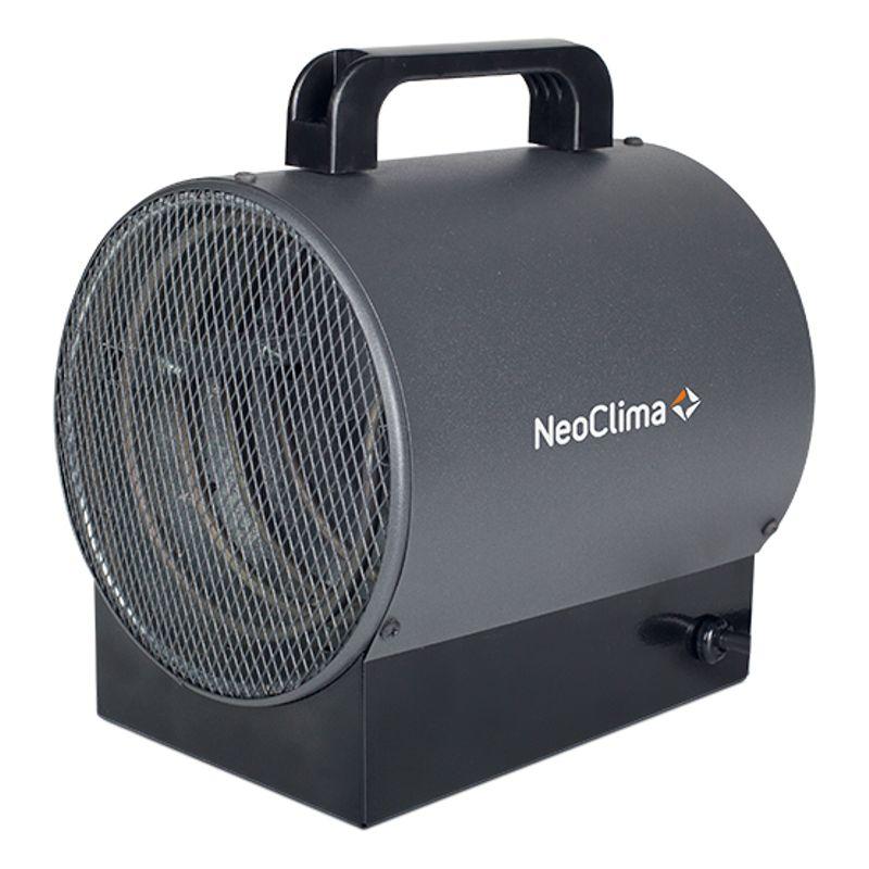 Пушка электрическая NEOCLIMA ТПК 3мПушка электрическая Neoclima ТПК 3м<br><br>Электрическая пушка мощностью 3 кВт от компании Neoclima, для обогрева рабочих, промышленных и складских помещений.<br><br>Воздушный мощный поток направленного действия, исходя из пушки способствует быстрому прогреванию помещения площадью до 30 кв.м.<br><br>Для защиты пушки от повреждений имеется прочный корпус из металла. ТЭН пушки изготовлен из нержавеющей стали.<br><br>Внутри корпуса имеет кожух для тепловой изоляции. Сама пушка обладает двумя уровнями мощности, а также защитой от перегрева.<br><br>Наклон угла корпуса можно менять по своему желанию. Ручка с нескользящим покрытием позволяет осуществлять транспортировку пушки без лишних сложностей.<br>Страна производитель: Россия; Бренд: Neoclima; Родина бренда: Греция; Модель: ТПК 3м; Мощность: 1,5/3 кВт; Номинальное напряжение: 220 В; Производительность: 230 м?/ч; Площадь отапливаемого помещения: 40 м?; Высота: 330 мм; Ширина: 400 мм; Глубина: 330 мм; Вес: 3,5;