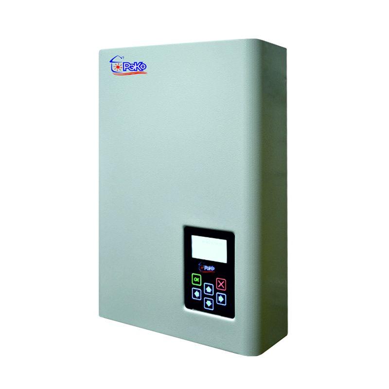 Электрический котел РЭКО 18 ПКотёл РЭКО П 18 кВт<br><br>Электрический котёл отопления компании РусНИТ с одним контуром и мощностью 18 кВт. Может отапливать до 180 кв.м. площади помещений.<br><br>ТЭНы и бак котла изготовлены из нержавеющей стали. Для коммутирования ТЭНов используются полупроводники, благодаря чему при работе от них нет шума или помех.<br><br>К тому же, ТЭНы могут равномерно работать и при довольно низком напряжении, при плавной регулировке мощности не происходит скосов по фазе.<br><br>Котлы можно использовать в комбинации с &amp;ldquo;тёплыми полами&amp;rdquo;. В качестве теплоносителей для котлов может выступать как вода, так и антифриз для бытовых отопительных систем.<br><br>Котёл может работать в погодозависимом режиме, за счёт температурных датчиков, которые обеспечивают также и безопасность котла.<br><br>Помимо этого, также обрабатываются данные о температуре окружающей среды. Это, а также информация о режимах и ошибках в работе котла диагностируется его электроникой<br><br>и выводится на жидкокристаллический дисплей, которым оборудована цифровая панель управления.<br><br>Если вы хотите получать всю информацию об ошибках и работе котла удалённо, вам следует установить на котёл специальный GSM-модуль.<br><br>Насос котла немецкой марки Grundfos обладает двумя режимами: автоматическим и принудительным, а также защитой от остановки и заклинивания.<br>Страна производитель: Россия; Бренд: Рэко; Родина бренда: Россия; Модель: Рэко 18 п; Тип установки: Настенный; Мощность: 18 кВт; Напряжение сети: 380 В; Класс защиты: IPX 1; Диаметр контура отопления: 1 ; Высота: 515 мм; Ширина: 405 мм; Глубина: 236 мм; Вес: 22 кг; Мощность котла: От 17 до 22 кВт;