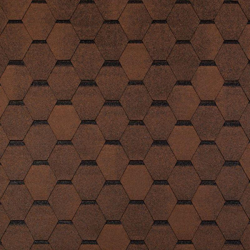 Черепица гибкая Tegola Top Shingle Смальто КоричневыйЧерепица гибкая Tegola Top Shingle Смальто (коричневый)<br><br>Однослойное кровельное покрытие для строительных и ремонтных работ.<br><br>НАЗНАЧЕНИЕ:<br><br>Покрытие сверхпрочных (железобетонная плита) и прочных (фанера повышенной влагостойкости, шпунтованная, обрезная доска, ОСП) оснований.<br><br>ПРЕИМУЩЕСТВА:<br><br>Долговечность (базальтовая посыпка; шестигранник-сота (нарезка); стеклохолст (основа); морозостойкая; термостойкая; устойчива к воздействию влаги, ветра и пр., препятствует проникновению звука);<br><br>Универсальность (подходит для крыш жилых домов и общественных зданий);<br><br>Удобство в использовании (самоклеящийся слой с обратной стороны листа).<br><br>РЕКОМЕНДАЦИИ:<br><br>Общие рекомендации:<br><br>Не рекомендуется работать в присутствии посторонних лиц, детей и животных;<br><br>При работе пользоваться средствами индивидуальной защиты (очки, перчатки, каска, мягкая обувь на плоской подошве), спецовкой;<br><br>Принять устойчивое положение для проведения работ. В рабочей зоне не должно быть посторонних предметов, которые могут привести к потере равновесия;<br><br>Использовать для резки черепицы нож с крючкообразным лезвием;<br><br>При выполнении работ (подрезка листов) рекомендуется подложить фанеру.<br><br>Рекомендации по хранению:<br><br>Хранить в сухом помещении, без доступа для детей, животных, посторонних лиц.<br><br>Рекомендации по применению:<br><br>Основание для монтажа должно быть сухим чистым ровным;<br><br>Провести разметку крыши с применением мелованной шнурки (&amp;laquo;отбивки&amp;raquo;);<br><br>Положить рулонные прокладочные материалы;<br><br>Положить лист с обрезанными лепестками (начальный ряд) по линии карниза, закрепить битумной мастикой (низ), кровельными гвоздями &amp;ndash; верх;<br><br>Обработать мастикой места соединения с металлическими фартуками и пр.;<br><br>Подогреть (при температуре воздуха менее 100 С) сторону (нижнюю) лепестков с применением строительного фена;<br