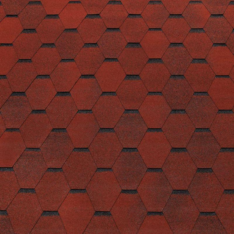 Черепица гибкая Tegola Top Shingle Смальто КрасныйЧерепица гибкая Tegola Top Shingle Смальто (красный)<br><br>Однослойное кровельное покрытие для строительных и ремонтных работ.<br><br>НАЗНАЧЕНИЕ:<br><br>Покрытие сверхпрочных (железобетонная плита) и прочных (фанера повышенной влагостойкости, шпунтованная, обрезная доска, ОСП) оснований.<br><br>ПРЕИМУЩЕСТВА:<br><br>Долговечность (базальтовая посыпка; шестигранник-сота (нарезка); стеклохолст (основа); морозостойкая; термостойкая; устойчива к воздействию влаги, ветра и пр., препятствует проникновению звука);<br><br>Универсальность (подходит для крыш жилых домов и общественных зданий);<br><br>Удобство в использовании (самоклеящийся слой с обратной стороны листа).<br><br>РЕКОМЕНДАЦИИ:<br><br>Общие рекомендации:<br><br>Не рекомендуется работать в присутствии посторонних лиц, детей и животных;<br><br>При работе пользоваться средствами индивидуальной защиты (очки, перчатки, каска, мягкая обувь на плоской подошве), спецовкой;<br><br>Принять устойчивое положение для проведения работ. В рабочей зоне не должно быть посторонних предметов, которые могут привести к потере равновесия;<br><br>Использовать для резки черепицы нож с крючкообразным лезвием;<br><br>При выполнении работ (подрезка листов) рекомендуется подложить фанеру.<br><br>Рекомендации по хранению:<br><br>Хранить в сухом помещении, без доступа для детей, животных, посторонних лиц.<br><br>Рекомендации по применению:<br><br>Основание для монтажа должно быть сухим чистым ровным;<br><br>Провести разметку крыши с применением мелованной шнурки (&amp;laquo;отбивки&amp;raquo;);<br><br>Положить рулонные прокладочные материалы;<br><br>Положить лист с обрезанными лепестками (начальный ряд) по линии карниза, закрепить битумной мастикой (низ), кровельными гвоздями &amp;ndash; верх;<br><br>Обработать мастикой места соединения с металлическими фартуками и пр.;<br><br>Подогреть (при температуре воздуха менее 100 С) сторону (нижнюю) лепестков с применением строительного фена;<br><br>З