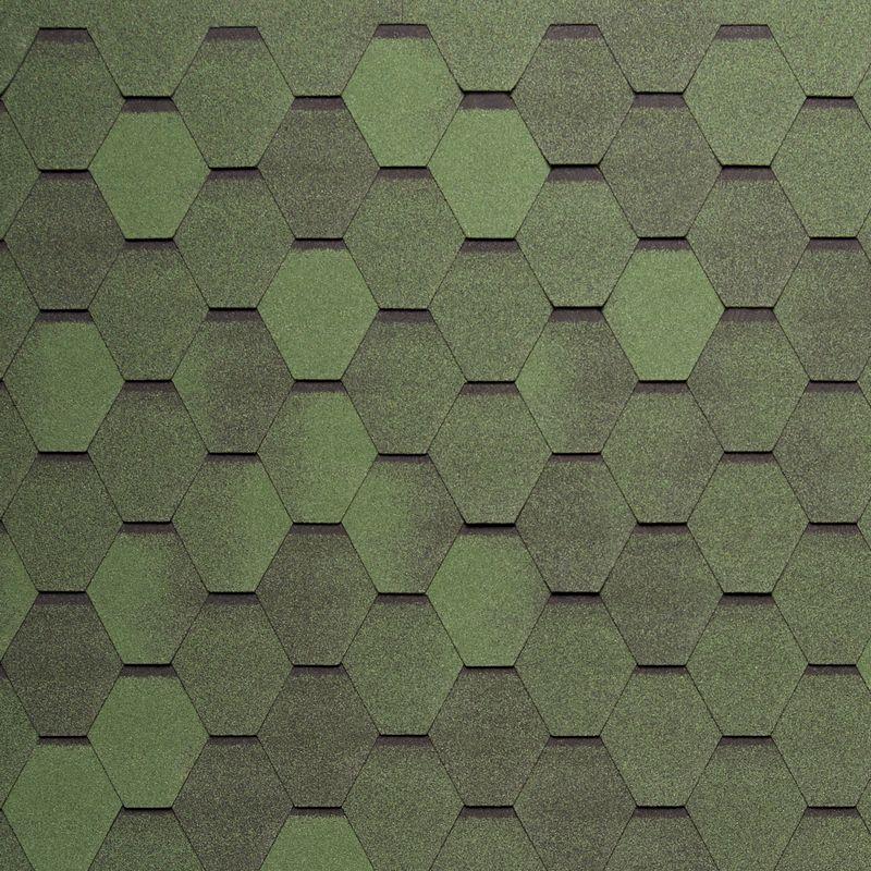 Черепица гибкая Tegola Nordland Нордик Зеленый с отливомЧерепица гибкая Tegola Nordland Нордик Зеленый с отливом<br><br>Гибкая полимерная черепица зеленого цвета шестиугольной формы (соты) для создания качественной и прочной кровли.<br><br>НАЗНАЧЕНИЕ:<br><br>Используется для кровельных работ на скатной крыше с углом наклона от 60 до 900.<br><br>ПРЕИМУЩЕСТВА:<br><br>Полезная площадь одной упаковки &amp;ndash; 3,45 м2;<br><br>Долговечность (в состав входит особо прочное стекловолокно; устойчивость черепицы к солнечным лучам; сохранение цвета на протяжении всего срока службы; водонепроницаемость &amp;ndash; за счет базальтового слоя, не поддается старению и гниению; стойкость к образованию вздутий; сохранение функциональных и технических характеристик на протяжении 35 лет);<br><br>Безопасность (состоит из природных экологически чистых материалов);<br><br>Удобство в использовании (легкий монтаж &amp;ndash; клеящаяся битумная полоса, минимизация отходов при монтаже &amp;ndash; принимает любую форму; диапазон температуры эксплуатации от -700С до +1400С; шестиугольная форма черепицы &amp;ndash; дает возможность применения для крыш со сложной геометрией).<br><br>РЕКОМЕНДАЦИИ:<br><br>Монтажные работы рекомендуется проводить в условиях теплой и сухой погоды, чтобы получить надлежащий уровень адгезии черепицы и подложки;<br><br>Монтаж мягкой кровли осуществляется при помощи специального клея и гвоздей для кровли;<br><br>Перед началом работ необходимо распланировать места размещения шахты вентиляций, чтобы оградить черепицу от чрезмерной влажности;<br><br>Перед укладкой гибкой черепицы, необходимо произвести укладку подложки, для повышения эксплуатационных характеристик теплоизоляционного и кровельного материала;<br><br>Непосредственно при монтаже кровли, необходимо снять защитную пленку, и поместить плитку, согласно рисунку или проекту;<br><br>Резку черепицы осуществляйте ножом с крючкообразным лезвием;<br><br>При проведении работ при температуре ниже +100С, необходимо прогрев