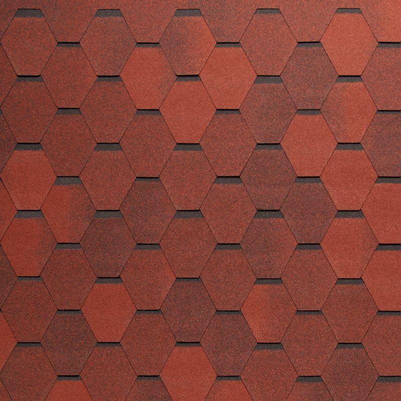 Черепица гибкая Tegola Nordland Нордик Красный с отливомЧерепица гибкая Tegola Nordland Нордик Красный с отливом<br><br>Гибкая полимерная черепица красного цвета шестиугольной формы (соты) для создания качественной и прочной кровли.<br><br>НАЗНАЧЕНИЕ:<br><br>Используется для кровельных работ на скатной крыше с углом наклона от 60 до 900.<br><br>ПРЕИМУЩЕСТВА:<br><br>Полезная площадь одной упаковки &amp;ndash; 3,45 м2;<br><br>Долговечность (в состав входит особо прочное стекловолокно; устойчивость черепицы к солнечным лучам; сохранение цвета на протяжении всего срока службы; водонепроницаемость &amp;ndash; за счет базальтового слоя, не поддается старению и гниению; стойкость к образованию вздутий; сохранение функциональных и технических характеристик на протяжении 35 лет);<br><br>Безопасность (состоит из природных экологически чистых материалов);<br><br>Удобство в использовании (легкий монтаж &amp;ndash; клеящаяся битумная полоса, минимизация отходов при монтаже &amp;ndash; принимает любую форму; диапазон температуры эксплуатации от -700С до +1400С; шестиугольная форма черепицы &amp;ndash; дает возможность применения для крыш со сложной геометрией).<br><br>РЕКОМЕНДАЦИИ:<br><br>Монтажные работы рекомендуется проводить в условиях теплой и сухой погоды, чтобы получить надлежащий уровень адгезии черепицы и подложки;<br><br>Монтаж мягкой кровли осуществляется при помощи специального клея и гвоздей для кровли;<br><br>Перед началом работ необходимо распланировать места размещения шахты вентиляций, чтобы оградить черепицу от чрезмерной влажности;<br><br>Перед укладкой гибкой черепицы, необходимо произвести укладку подложки, для повышения эксплуатационных характеристик теплоизоляционного и кровельного материала;<br><br>Непосредственно при монтаже кровли, необходимо снять защитную пленку, и поместить плитку, согласно рисунку или проекту;<br><br>Резку черепицы осуществляйте ножом с крючкообразным лезвием;<br><br>При проведении работ при температуре ниже +100С, необходимо прогрев