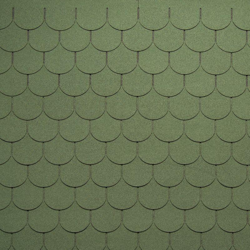Черепица гибкая Tegola Nordland Антик ЗеленыйЧерепица гибкая Tegola Nordland Антик Зеленый<br><br>Гибкая полимерная черепица зеленого цвета полукруглой лепестковой формы для создания качественной и прочной кровли.<br><br>НАЗНАЧЕНИЕ:<br><br>Используется для кровельных работ на скатной крыше с углом наклона от 60 до 900.<br><br>ПРЕИМУЩЕСТВА:<br><br>Полезная площадь одной упаковки &amp;ndash; 3,5 м2;<br><br>Долговечность (в состав входит особо прочное стекловолокно; устойчивость черепицы к солнечным лучам; сохранение цвета на протяжении всего срока службы; водонепроницаемость &amp;ndash; за счет базальтового слоя, не поддается старению и гниению; стойкость к образованию вздутий; сохранение функциональных и технических характеристик на протяжении 35 лет);<br><br>Безопасность (состоит из природных экологически чистых материалов);<br><br>Удобство в использовании (легкий монтаж &amp;ndash; клеящаяся битумная полоса, минимизация отходов при монтаже &amp;ndash; принимает любую форму; диапазон температуры эксплуатации от -700С до +1400С; пятилепестковая полукруглая форма черепицы &amp;ndash; дает возможность применения для крыш разной геометрии; пленка для предотвращения склеивания гонтов между собой при транспортировке).<br><br>РЕКОМЕНДАЦИИ:<br><br>Монтажные работы рекомендуется проводить в условиях теплой и сухой погоды, чтобы получить надлежащий уровень адгезии черепицы и подложки;<br><br>Монтаж мягкой кровли осуществляется при помощи специального клея и гвоздей для кровли;<br><br>Перед началом работ необходимо распланировать места размещения шахты вентиляций, чтобы оградить черепицу от чрезмерной влажности;<br><br>Перед укладкой гибкой черепицы, необходимо произвести укладку подложки, для повышения эксплуатационных характеристик теплоизоляционного и кровельного материала;<br><br>Непосредственно при монтаже кровли, необходимо снять защитную пленку, и поместить плитку, согласно рисунку или проекту;<br><br>Резку черепицы осуществляйте ножом с крючкообразным лезвием;<br><br>П