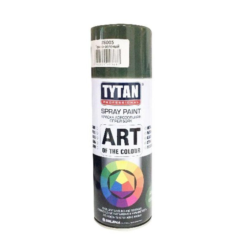 Краска аэрозольная TYTAN PROFESSIONAL ART OF THE COLOUR, RAL6005, темно-зеленая (400мл)<br>Бренд: Tytan professional; Название: Art of the colour; Объем: 0,4; Вес: 0,283; Цвет производителя: Темно-зеленый; Степень блеска: Глянцевая; Состав: Акриловая; Особые свойства: Влагостойкость; Тип поверхности: Дерево; Тип поверхности: Металл; Тип поверхности: Стекло; Тип работ: Для внутренних работ; Тип работ: Для наружных работ; Время высыхания: 1; Расход: 2,4-3м2; Срок годности: 36 мес; Цвет: Зеленый;