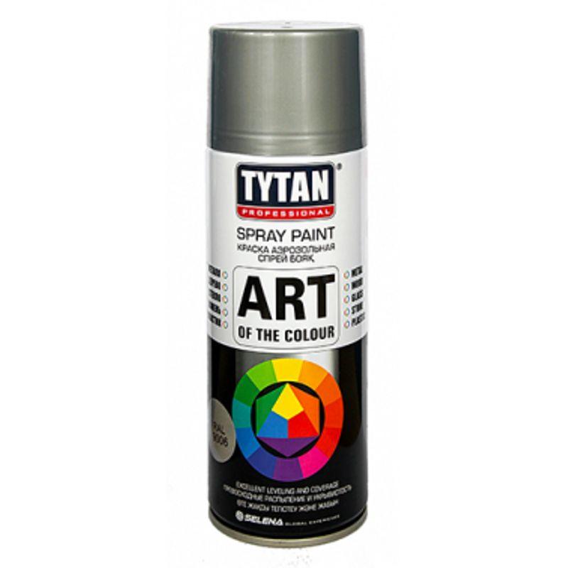 Краска аэрозольная TYTAN PROFESSIONAL ART OF THE COLOUR, RAL9006, металлик (400мл)<br>Бренд: Tytan professional; Название: Art of the colour; Объем: 0,4; Вес: 0,283; Цвет производителя: Металлик; Степень блеска: Глянцевая; Состав: Акриловая; Особые свойства: Влагостойкость; Тип поверхности: Стекло; Тип поверхности: Металл; Тип поверхности: Дерево; Тип работ: Для наружных работ; Тип работ: Для внутренних работ; Время высыхания: 1; Расход: 2,4-3м2; Срок годности: 36 мес; Цвет: Серый;