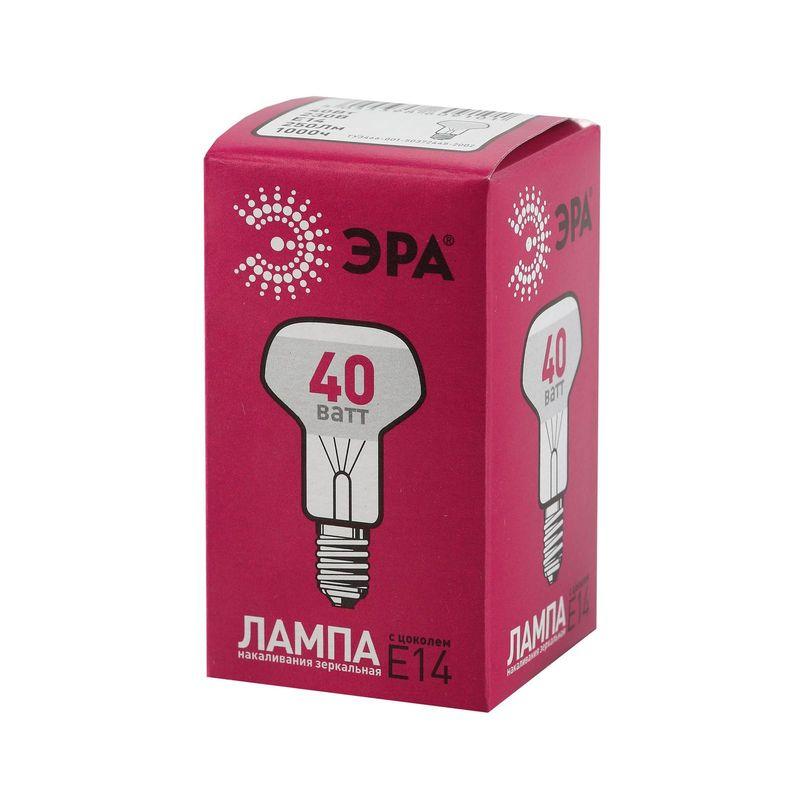 Лампы накаливания ЭРА R50-40W-230-E14<br>Страна производитель: Россия; Бренд: Эра; Назначение: Бытовая; Типоразмер цоколя: Е14; Форма лампы: Гриб; Цвет лампы: Зеркальная; Цвет свечения: Теплый; Прозрачность лампы: Прозрачная; Номинальное напряжение: 230 В; Потребляемая мощность: 40 Вт; Световой поток: 250 Лм; Цветовая температура: 2700 К; Светорегулирование: Диммируемая; Срок службы: 1000 ч; Температура эксплуатации: От -60°С до +50°С;