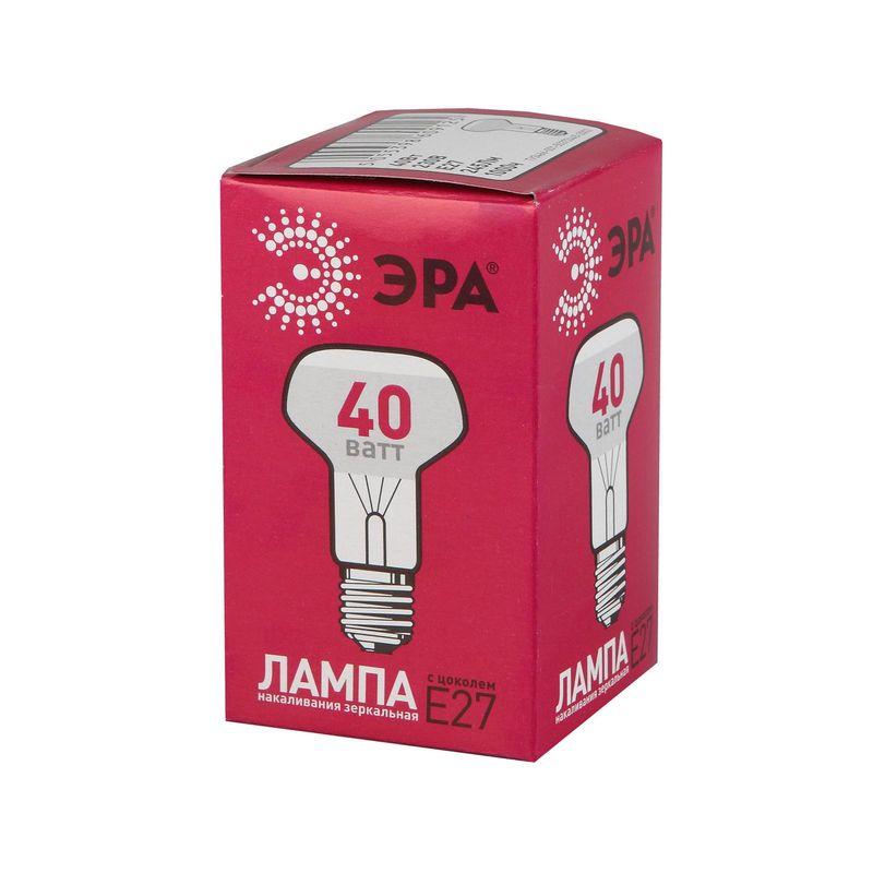 Лампы накаливания ЭРА R63-40W-230-E27<br>Страна производитель: Россия; Бренд: Эра; Назначение: Бытовая; Типоразмер цоколя: Е27; Форма лампы: Гриб; Цвет лампы: Зеркальная; Цвет свечения: Теплый; Прозрачность лампы: Прозрачная; Номинальное напряжение: 230 В; Потребляемая мощность: 40 Вт; Световой поток: 245 Лм; Цветовая температура: 2700 К; Светорегулирование: Диммируемая; Срок службы: 1000 ч; Температура эксплуатации: От -60°С до +50°С;