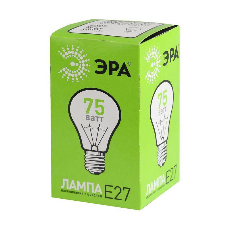 Лампы накаливания ЭРА А55/А50-75-230-E27-CL<br>Страна производитель: Россия; Бренд: Эра; Назначение: Бытовая; Типоразмер цоколя: Е27; Форма лампы: Стандарт груша; Цвет лампы: Бесцветная; Цвет свечения: Теплый; Прозрачность лампы: Прозрачная; Номинальное напряжение: 230 В; Потребляемая мощность: 75 Вт; Цветовая температура: 2700 К; Светорегулирование: Диммируемая; Срок службы: 1000 ч; Температура эксплуатации: От -60°С до +50°С;