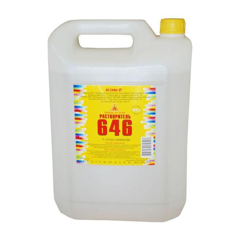 Растворитель 646, 10л (ТУ)СФЕРА ПРИМЕНЕНИЯ: Растворитель 646 представляет собой бесЦВЕТную или<br>желтоватую однородную жидкость без видимых взвешенных частиц.<br>Растворитель 646 применяется для разбавления нитроэмалей, нитролаков<br>эпоксидных компаундов и других лакокрасочных материалов, обезжиривания и<br>очистки поверхностей.<br>Технические характеристики<br>ЦВЕТ и внешний вид:бесЦВЕТная или слегка желтоватая однородная<br>прозрачная жидкость без видимых взвешенных частиц.<br>Массовая доля воды по Фишеру, %, не более: 2.<br>Летучесть по этиловому эфиру: 8-15.<br>Кислотное число, мг КОН/г: не более 0,06<br>Название: 646; Бренд: Ясхим; Объем: 10 л; Тип: Растворитель; Состав: Органический; Область применения: Растворение различных видов красок; Область применения: Удаление старых красок, лаков, смолы с поверхностей; Область применения: Обезжиривание поверхностей;