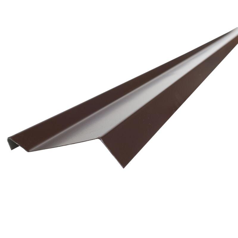 Планка примыкания S6 Pe RAL 8017 L-2000ммПланка примыкания&amp;nbsp;Шинглас, коричневая, 10х45х15х10 мм<br><br>Планка примыкания при закрытии линии границ кровельного материала и стен.<br><br>Планка коричневого цвета, применяемая в качестве&amp;nbsp;доборного&amp;nbsp;элемента.<br><br>НАЗНАЧЕНИЕ:<br><br>Планка примыкания используется для придания кровли целостности, прикрытия кровельных стыков:<br>Для декорирования стыков кровли со стенами зданий;<br>Для обрамления кирпичных фартуков вокруг труб и дымоходов.<br><br>ПРЕИМУЩЕСТВА:<br><br>Универсальный элемент примыкания для герметизации и стыковок, обрамления и декорирования кровельных элементов;<br>Выполняет декоративные функции, придавая композиционно законченный вид кровельному покрытию;<br>Эффективная (предотвращает попадание дождевых вод, ветра и пыли под кровельное пространство);<br>Эстетичная (цветовой диапазон позволяет подобрать планку под общую цветовую гамму кровельного покрытия);<br>Безопасные материалы, из которых выполнена планка, позволяют использовать ее в строительстве зданий и сооружений любого назначения;<br>Полиэфир (полиэстер) покрывающий элемент обладает хорошей стойкостью цвета и гибкостью, это препятствует растрескиванию.<br><br>РЕКОМЕНДАЦИИ:<br><br>Закрепляйте планки в последнюю очередь, когда кровельный материал уже зафиксирован;<br>Планку крепите механическим способом, заводя удлиненную часть планки в подготовленную&amp;nbsp;штробу;<br>После заведения планки в&amp;nbsp;штробу&amp;nbsp;следует герметизировать силиконовым,&amp;nbsp;тиоколовым&amp;nbsp;или полиуретановым герметиком;<br>Фиксируйте планки примыкания внахлест кровельными гвоздями.<br>RAL: 8014; Назначение: Гибкая черепица; Бренд: Shinglas; Размер: 10х45х15х10  мм.; Длина: 2000  мм.; Покрытие: ПЭ (полиэстер); Цвет: Коричневый; Тип: Верхняя;