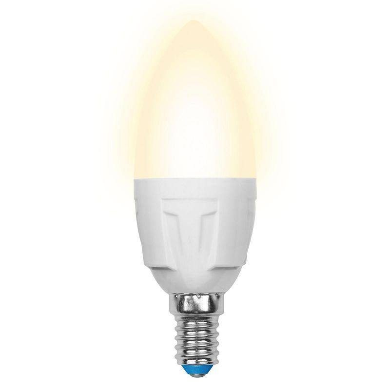 Лампа светодиодная Uniel LED-C37 7W/WW/E14/FR PLP01WH Форма «свеча», матовая. Серия Яркая. Теплый свет(3000K)<br>Бренд: Uniel;