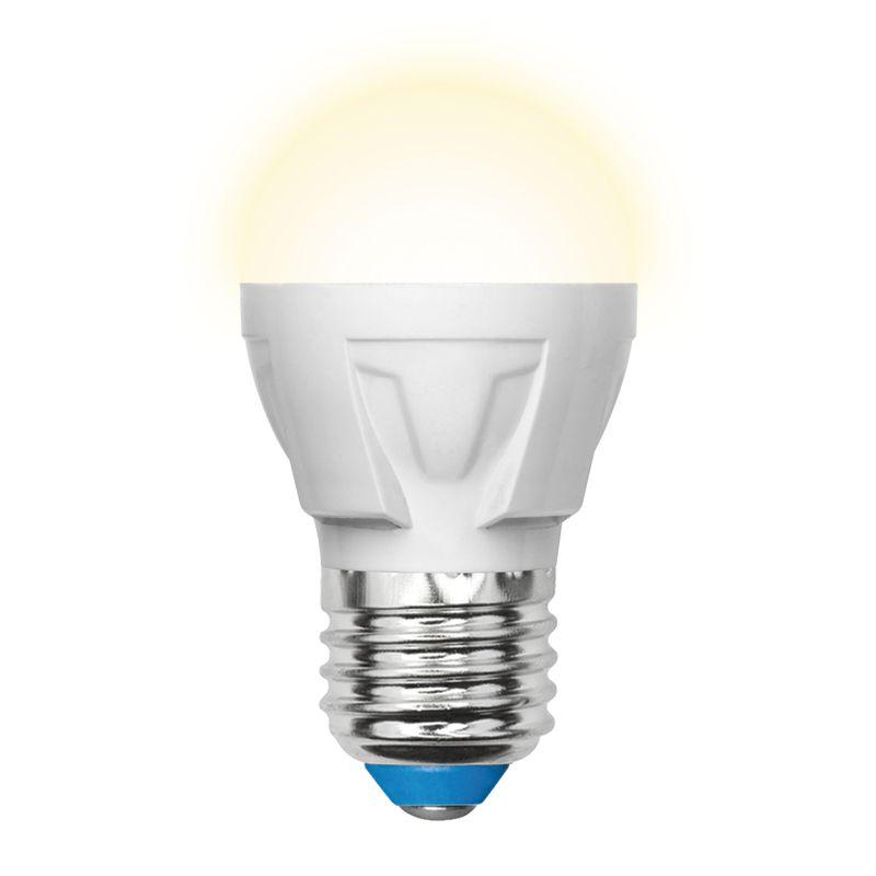 Лампа светодиодная Uniel LED-G45 7W/WW/E27/FR PLP01WH Форма «шар», матовая. Серия Яркая. Теплый свет(3000K).<br>Бренд: Uniel;