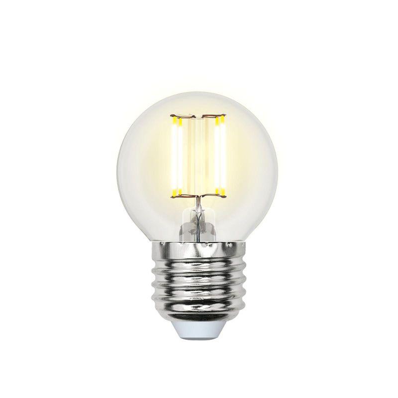 Лампа светодиодная Uniel LED-G45-6W/WW/E27/CL PLS02WH Форма шар, прозрачная. Серия Sky. Теплый свет<br>Бренд: Uniel;