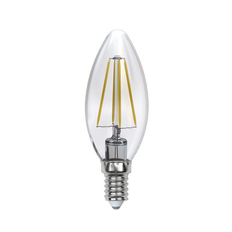 Лампа светодиодная Uniel диммируемая LED-C35-5W/NW/E14/CL/DIM GLA01TR Форма свеча, прозрачная. Серия Air. Белый свет(4000K)<br>Бренд: Uniel;