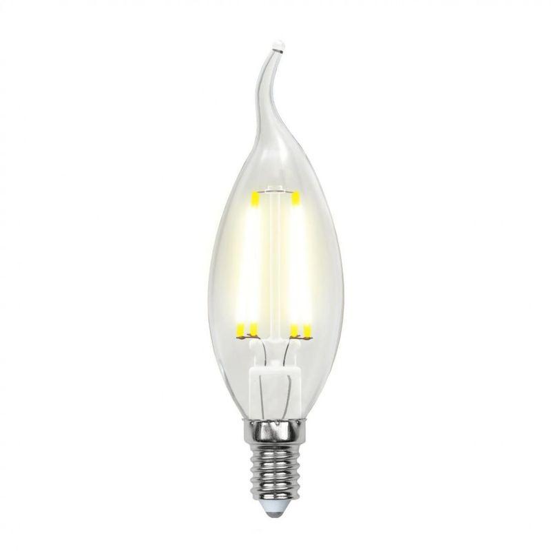 Лампа светодиодная Uniel диммируемая LED-CW35-5W/NW/E14/CL/DIM GLA01TR Форма свеча на ветру, прозрачная. Серия Air. Белый свет(4000K<br>Бренд: Uniel;
