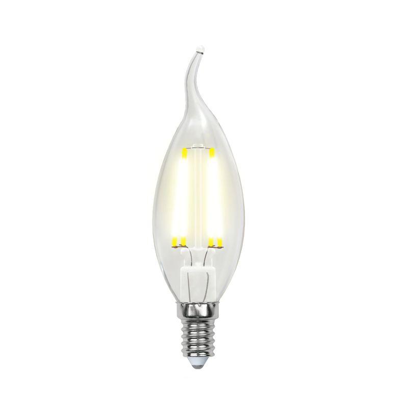 Лампа светодиодная Uniel диммируемая LED-CW35-5W/WW/E14/CL/DIM GLA01TR Форма свеча на ветру, прозрачная. Серия Air. Теплый свет(3000<br>Бренд: Uniel;