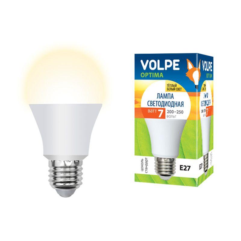 Лампа светодиодная Volpe LED-A60-7W/WW/E27/FR/O Форма A, матовая. Серия Optima Теплый свет<br>Бренд: Uniel;