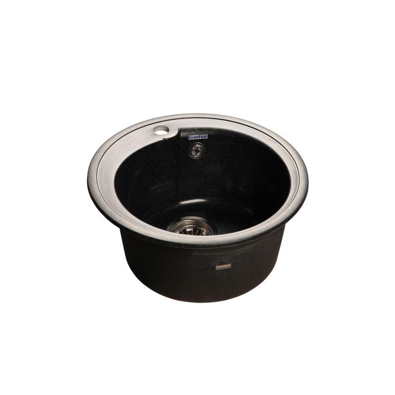 Купить Мойка кухонная GranFest Rondo GF-R450 черный, Черный, Искусственный мрамор, Россия