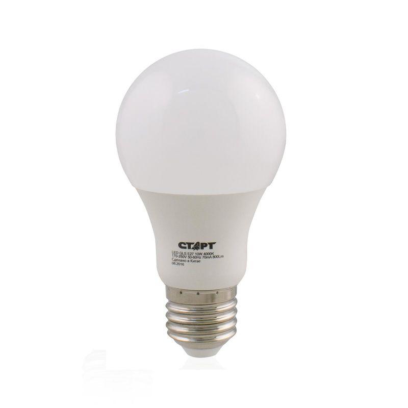 Лампа светодиодная СТАРТ LEDGLSE27 10W 40 Цоколь Е27 Форма - груша 10 Вт Холодный белый свет<br>Бренд: Старт;