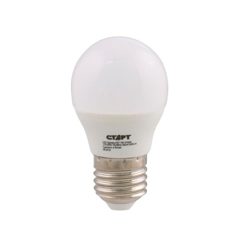 Лампа светодиодная СТАРТ LEDSphereE27 7W27 Цоколь Е27 Форма - шарик. 7 Вт Теплый белый свет.<br>Бренд: Старт;