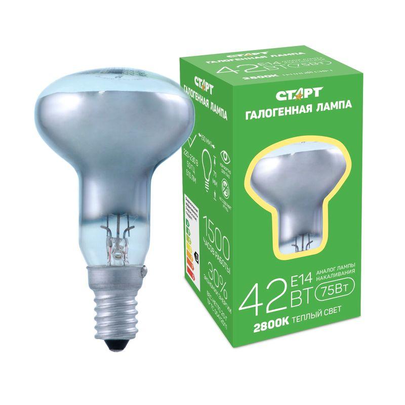 Купить со скидкой Галогенная лампа СТАРТ ГЛН R50 42Вт Е14 Цоколь Е14 220В 42 Вт Теплый свет