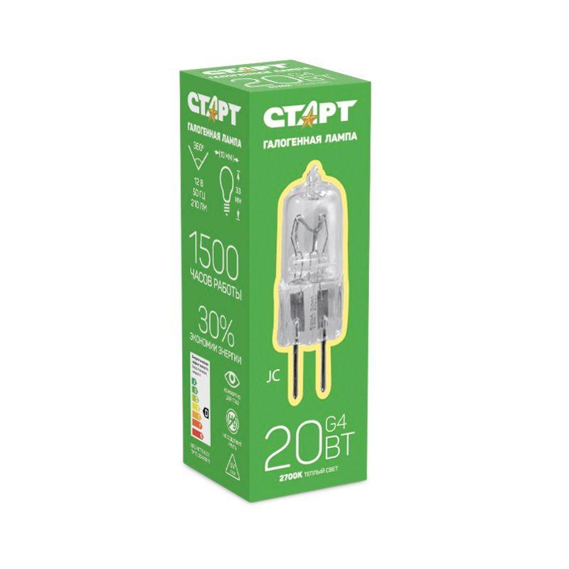 Лампа галогенная капсульная СТАРТ JC 12V 20W G4 Цоколь G4. 12В Теплый свет<br>Бренд: Старт;