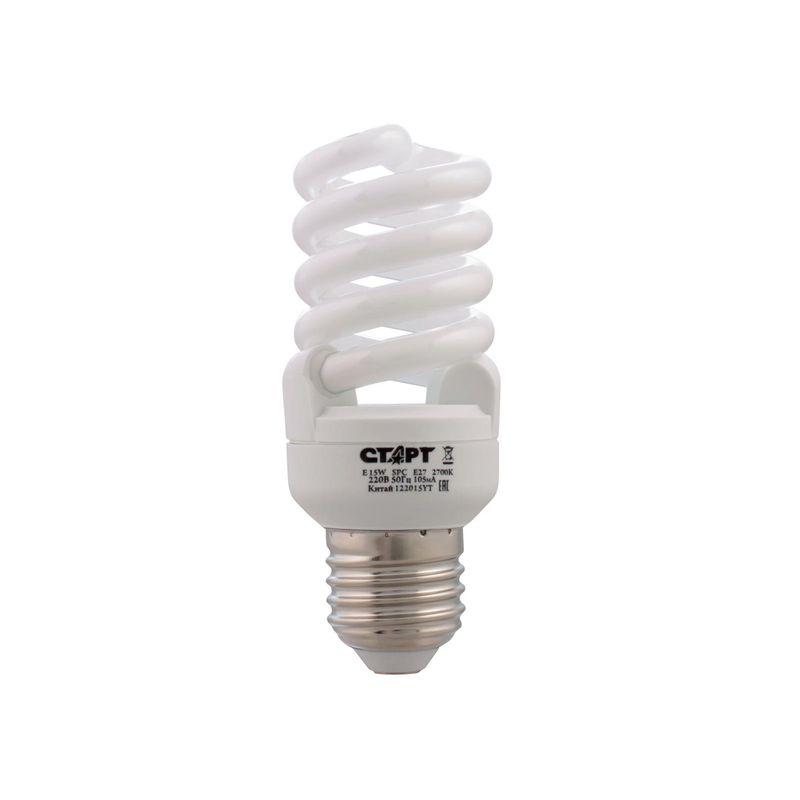 лампа энергосберегающая старт e 15wspc e27 2700k8y цоколь е27 потребляемая мощность 15 вт  лампы накаливания - 75 вт. теплый<br>Бренд: Старт;