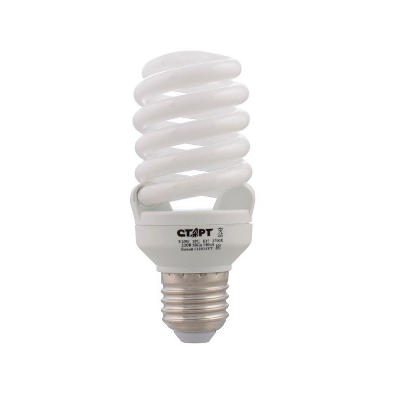 лампа энергосберегающая старт e 20wspc e27 2700k8y цоколь е27 потребляемая мощность 20 вт  лампы накаливания - 100 вт теплый<br>Бренд: Старт;
