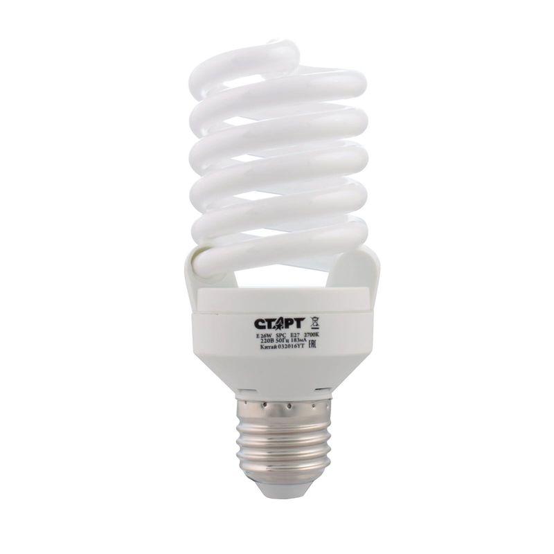 лампа энергосберегающая старт e 26wspc e27 2700k8y цоколь е27 потребляемая мощность 26 вт  лампы накаливания - 130 вт теплый<br>Бренд: Старт;