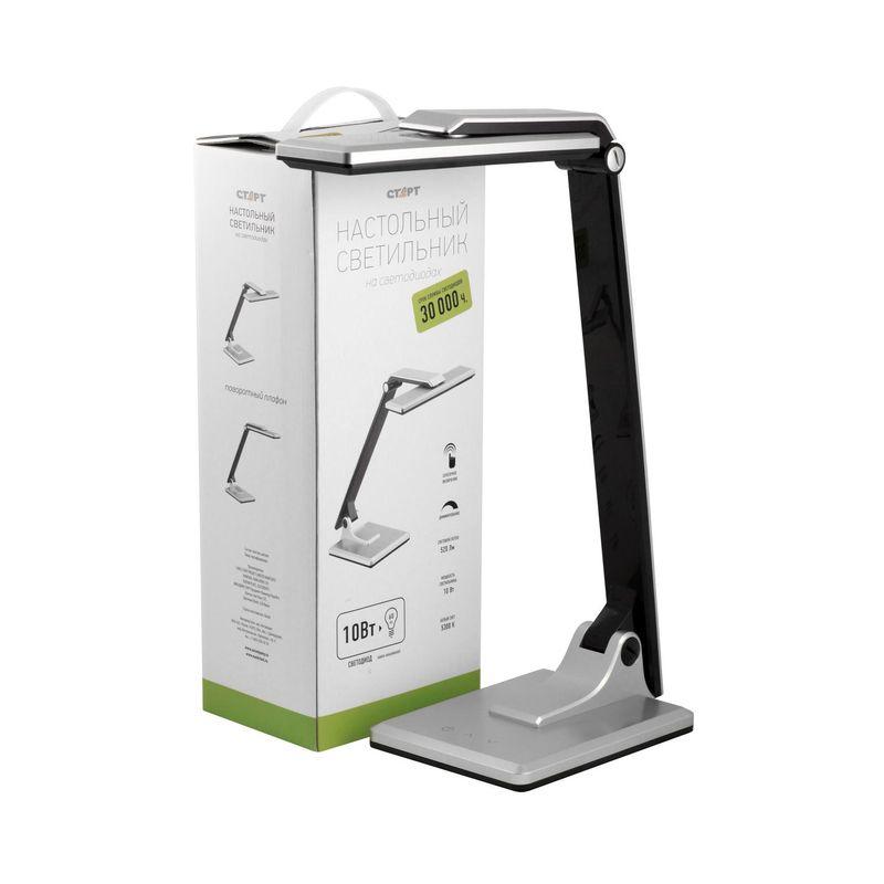 настольный светильник на светодиодах старт ct50 серебряный 220в сенсорный диммер. мощность светодиодов 10 вт  свечения лампы<br>Бренд: Старт;