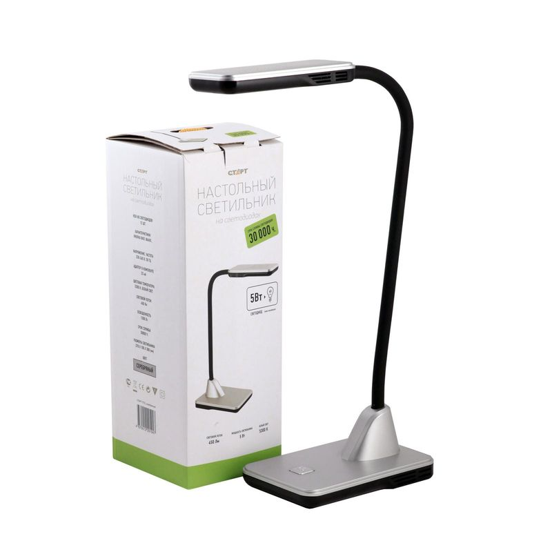 настольный светильник на светодиодах старт ct51 серебряный 220в сенсорный диммер. мощность светодиодов 8 вт  свечения лампы н<br>Бренд: Старт;