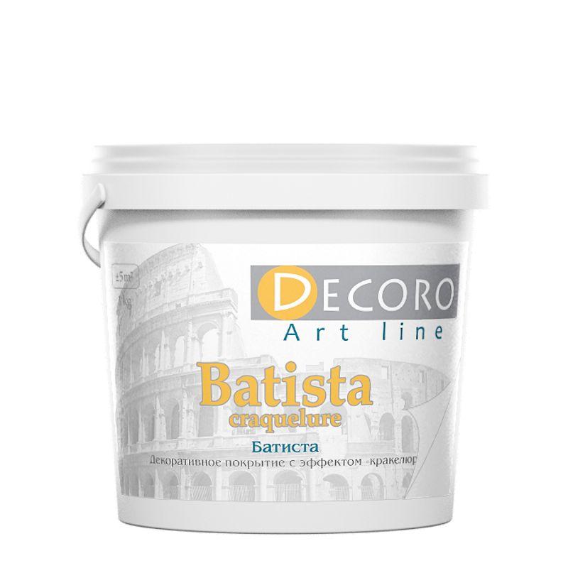 Лак кракелюрный для создания трещин Decoro Batista, 1кг<br>Бренд: Decoro; Название: Batista; Вес: 1 кг; Вид: Лак; Фактура: Трещины; Тип работ: Для внутренних работ; Тип поверхности: Декоративная краска; Расход: 0,15-0,2; Растворитель: Вода; Этап использования: Финишное покрытие;