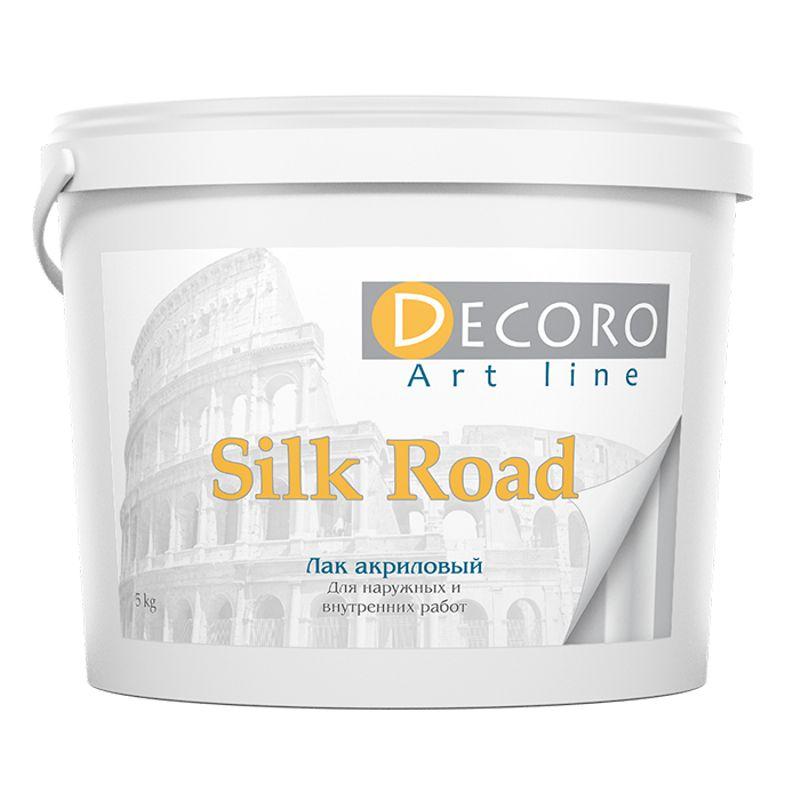 Лак акриловый Decoro Silk Road глянцевый, 1кг<br>Бренд: Decoro; Название: Silk road; Вес: 1 кг; Вид: Лак; Цвет производителя: Бесцветный; Степень блеска: Глянцевый; Тип работ: Для внутренних работ; Тип поверхности: Декоративная краска; Расход: 0,1-0,15; Растворитель: Вода; Этап использования: Финишное покрытие;