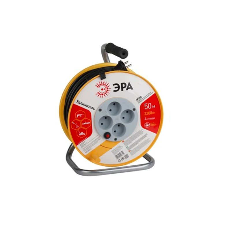 Удлинитель на катушке 50 метров, 4 гнезда (без заземления). Провод 2x1мм2. ЭРА<br>Страна производитель: Россия; Бренд: Эра; Цвет: Желтый; Вид корпуса: Катушка; Тип розетки: Евророзетка; Количество розеток: 4; Тип кабеля: Пвс; Длина кабеля: 50 м; Сечение жилы: 1 мм?; Количество жил: 2; Материал жилы: Медь; Номинальный ток: 6 А; Номинальное напряжение: 220 В; Частота тока: 50 Гц; Нагрузка: 1300 Вт; Наличие заземления: Нет; Выключатель: Нет; Материал корпуса: Пластик; Температура эксплуатации: От +5°С до +35°С; Степень защиты: IP 20;