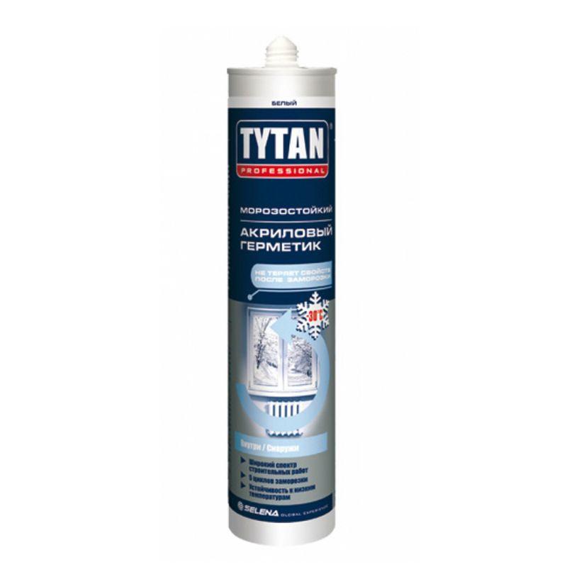 Герметик акриловый Tytan морозостойкий (белый), 310 млГерметик акриловый Tytan морозостойкий (белый), 310 мл<br><br>Профессиональный акриловый герметик для строительных и ремонтных работ.<br><br>НАЗНАЧЕНИЕ:<br><br>Герметизация прочных поверхностей (древесина и пр.);<br><br>Заполнение трещин, герметизация швов сверхпрочных (бетон) и прочных (кирпич) конструкций.<br><br>ПРЕИМУЩЕСТВА:<br><br>Долговечность (эластичность шва; термостойкий; морозостойкий; устойчив к ультрафиолетовому излучению, атмосферным воздействиям);<br><br>Универсальность (возможно применять для внутренних и наружных работ; установки окон, дверей; на пористых влажных поверхностях; возможно окрашивать поверхность после нанесения);<br><br>Удобство в использовании (картридж 310 мл.; пять циклов заморозки; образование пленки через 10 &amp;ndash; 15 мин. после нанесения).<br><br>РЕКОМЕНДАЦИИ:<br><br>Общие рекомендации:<br><br>Не рекомендуется работать в присутствии посторонних лиц, детей и животных;<br><br>При работе пользоваться средствами индивидуальной защиты (очки, каска, перчатки, респиратор, нескользящая обувь), спецовкой;<br><br>Положение тела должно быть устойчивым, в рабочей зоне не должно быть посторонних предметов, которые могут привести к потере равновесия.<br><br>Рекомендации по хранению:<br><br>Хранить в сухом помещении, без доступа для детей, животных, посторонних лиц;<br><br>При переходе из холодного помещения в тёплое, дать герметику время принять температуру окружающей среды.<br>