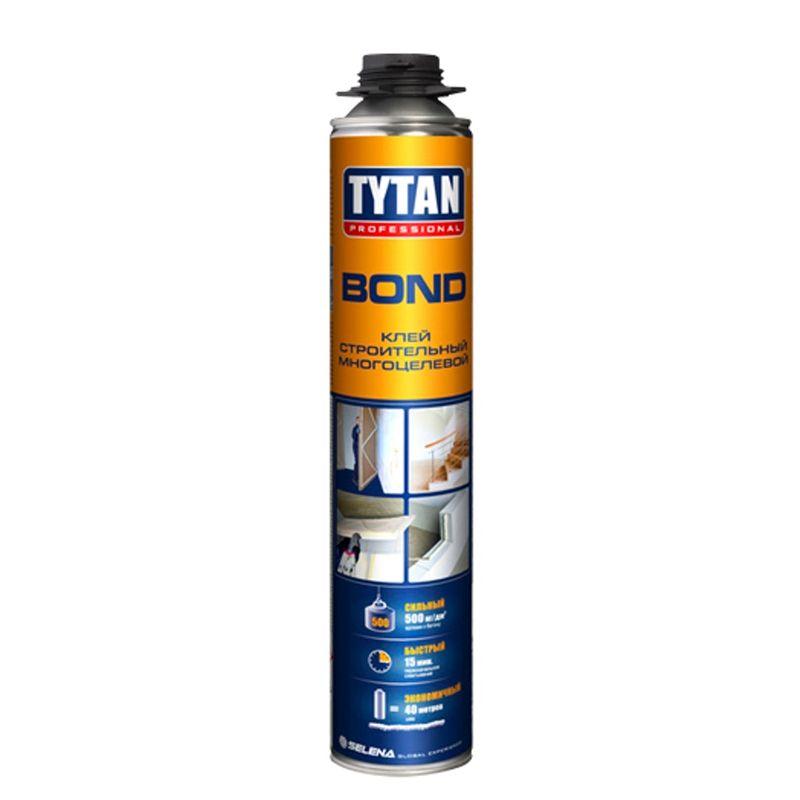 Клей пена универсальная Tytan Bond GUN профессиональная, 750 млКлей-пена универсальная Tytan bond gun профессиональная, 750 мл<br><br>Профессиональная летняя клей-пена для строительных и ремонтных работ.<br><br>НАЗНАЧЕНИЕ:<br><br>Склеивание, герметизация сверхпрочных (бетон) и прочных (металл, пластмасса, древесина, кирпич, гипсокартон и пр.) оснований.<br><br>ПРЕИМУЩЕСТВА:<br><br>Долговечность (термостойкая; полное первичное расширение; препятствует проникновению звука, потере тепла; устойчивая к деформированию, воздействию влаги);<br><br>Универсальность (возможно применять для внутренних и наружных работ в жилых домах и общественных зданиях; подходит для фиксации панелей, перегородок, стоек, изоляции; установки лестниц; монтажа кровли пр.);<br><br>Безопасность (не содержит токсины; экологически чистая);<br><br>Удобство в использовании (объём &amp;ndash; 750 мл.; компактные габариты тары (баллон)).<br><br>РЕКОМЕНДАЦИИ:<br><br>Общие рекомендации:<br><br>Не рекомендуется работать в присутствии посторонних лиц, детей и животных;<br><br>При работе пользоваться средствами индивидуальной защиты (очки, каска, перчатки, респиратор, нескользящая обувь), спецовкой;<br><br>Положение тела должно быть устойчивым, в рабочей зоне не должно быть посторонних предметов, которые могут привести к потере равновесия.<br><br>Рекомендации по хранению:<br><br>Хранить в сухом помещении, без доступа для детей, животных, посторонних лиц;<br><br>Беречь от резкого перепада температур, нагревания от внешних источников тепла. При переходе из холодного помещения в тёплое, дать клей-пене 24 часа для принятия температуры окружающей среды.<br><br>Рекомендации по применению:<br><br>Наносить на очищенную сухую поверхность с помощью пистолета-аппликатора;<br><br>Использовать в течение 5 минут;<br><br>Соединить склеиваемые поверхности через минуту после нанесения клей-пены;<br><br>Зафиксировать элементы с помощью механического держателя на 15 минут;<br><br>Через 15 минут после нанесения поверхность приоб