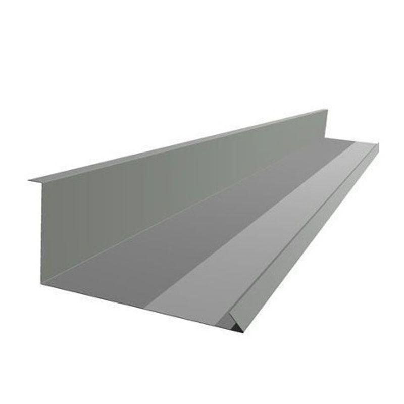 Планка примыкания нижняя Металлпрофиль Pe RAL 7024 250х122х2000мм графитовый<br>RAL: 7024; Назначение: Металлочерепица; Бренд: Металлпрофиль; Длина: 2000  мм.; Покрытие: ПЭ (полиэстер); Цвет: Серый; Тип: Нижняя;