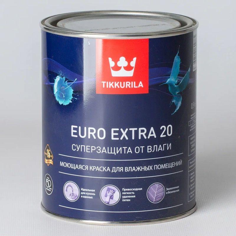 Купить Краска для кухонь и ванных комнат Tikkurila Euro Extra 20, полуматовая, 0, 9л, Белый