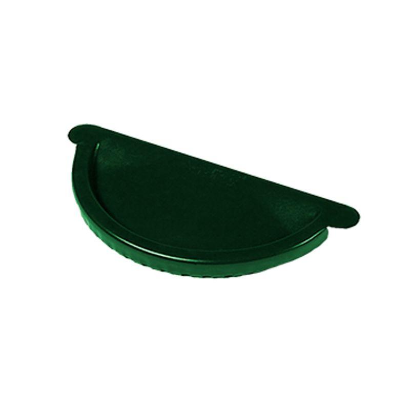 Заглушка желоба Металлпрофиль Престиж D125 RAL 6005<br>Бренд: Металлпрофиль; Коллекция: Престиж; Диаметр трубы: 100 мм; Диаметр желоба: 125 мм; Материал: Сталь; Толщина: 0,5 мм; Покрытие: Пластизол; Сечение: Круглое; Цвет: Зеленый; Цвет производителя: Зеленый; Область применения: Для металлической водосточки; Страна производитель: Россия; Вес: 0,11 кг;