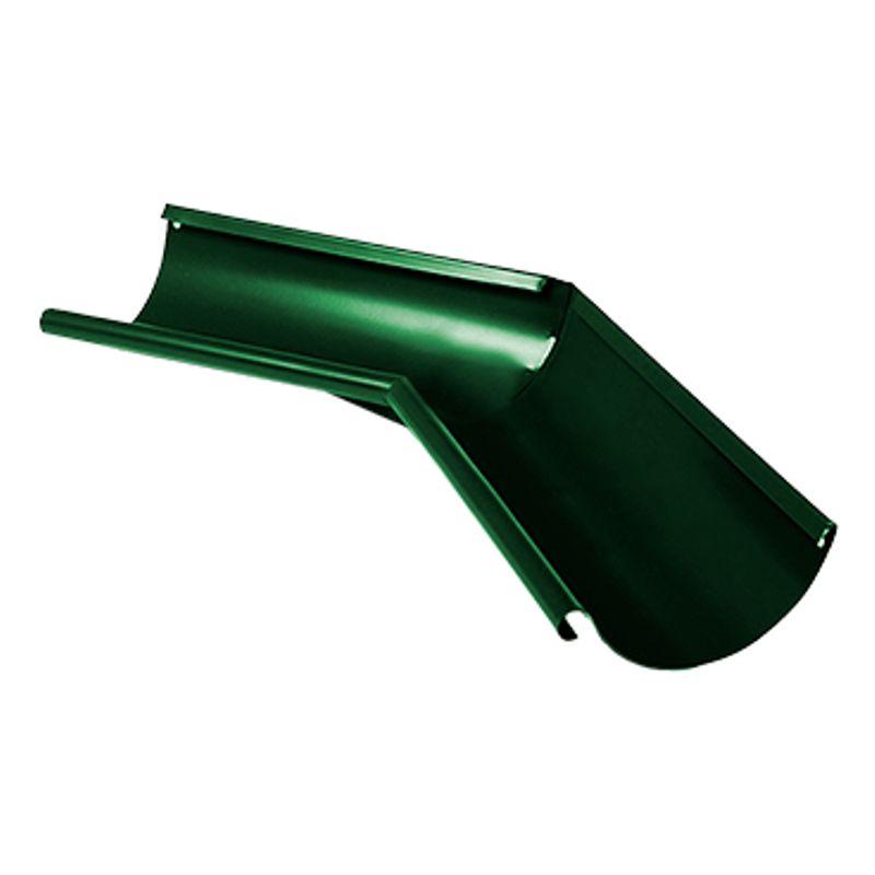 Угол желоба внутренний 135° Металлпрофиль Престиж D125 RAL 6005<br>Бренд: Металлпрофиль; Коллекция: Престиж; Диаметр трубы: 100 мм; Диаметр желоба: 125 мм; Угол изгиба: 135 °; Материал: Сталь; Толщина: 0,5 мм; Покрытие: Пластизол; Сечение: Круглое; Цвет: Зеленый; Цвет производителя: Зеленый; Область применения: Для металлической водосточки; Страна производитель: Россия; Вес: 0,71 кг;
