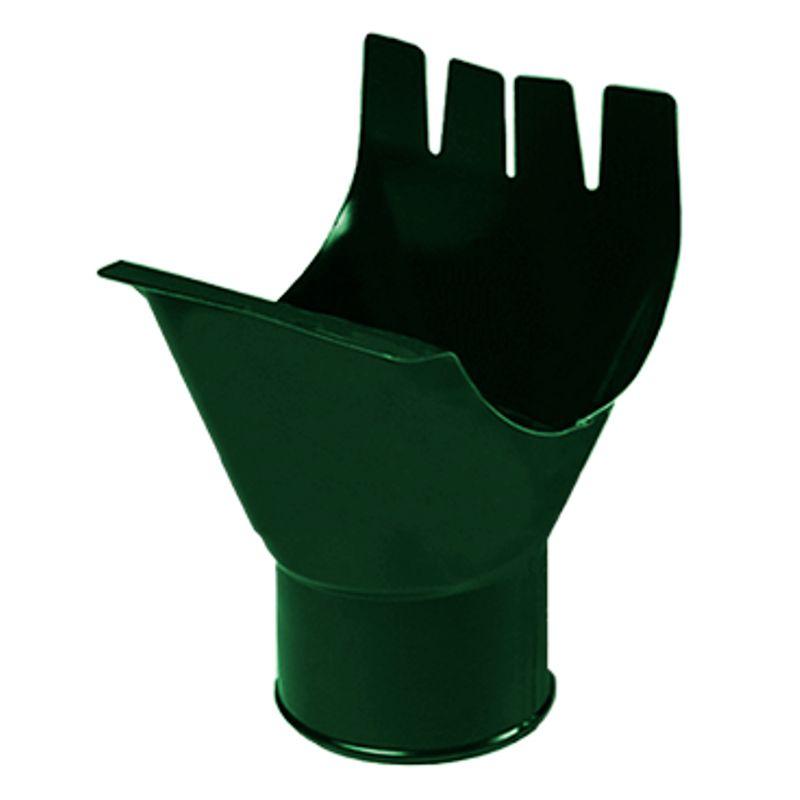 Воронка выпускная водосточная Металлпрофиль Престиж D150 RAL 6005<br>Бренд: Металлпрофиль; Коллекция: Престиж; Вид: Выпускная; Диаметр трубы: 100 мм; Диаметр желоба: 150 мм; Материал: Сталь; Толщина: 0,5 мм; Покрытие: Пластизол; Сечение: Круглое; Цвет: Зеленый; Цвет производителя: Зеленый; Область применения: Для металлической водосточки; Страна производитель: Россия; Вес: 0,3 кг;