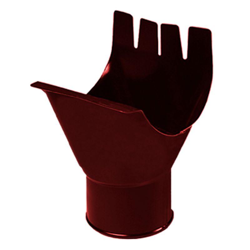 Воронка выпускная водосточная Металлпрофиль Престиж D150 P363<br>Бренд: Металлпрофиль; Коллекция: Престиж; Вид: Выпускная; Диаметр трубы: 100 мм; Диаметр желоба: 150 мм; Материал: Сталь; Толщина: 0,5 мм; Покрытие: Пластизол; Сечение: Круглое; Цвет: Красный; Цвет производителя: Вишневый; Область применения: Для металлической водосточки; Страна производитель: Россия; Вес: 0,3 кг;