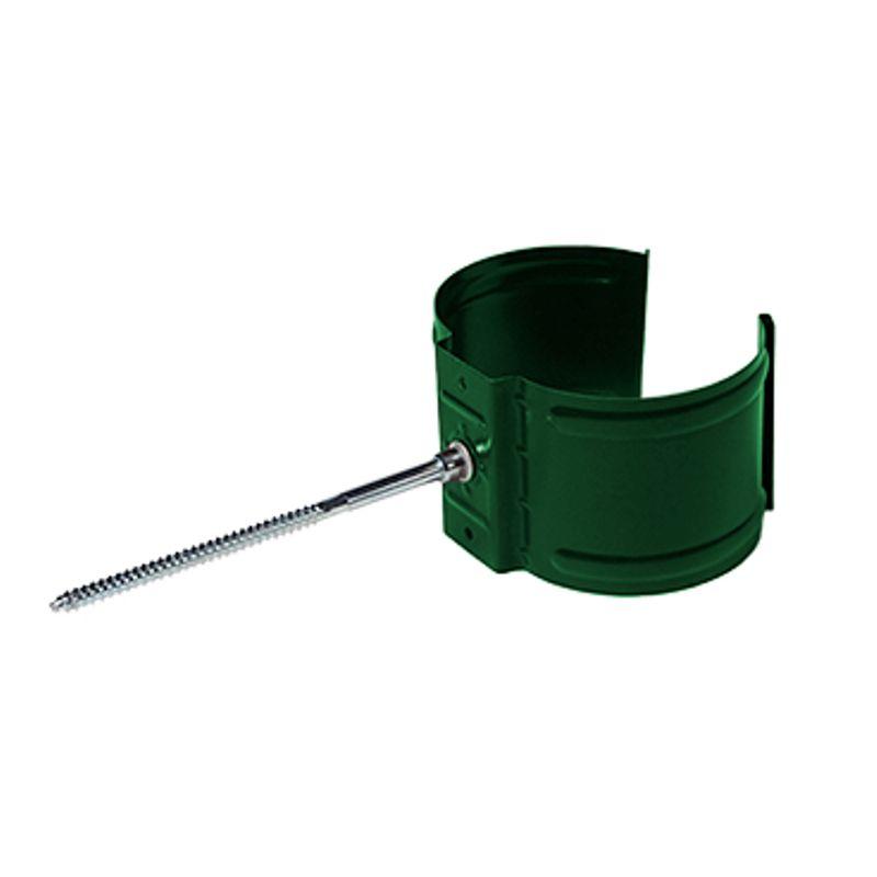 Кронштейн трубы на кирпич Металлпрофиль Престиж D100 RAL 6005<br>Бренд: Металлпрофиль; Коллекция: Престиж; Диаметр трубы: 100 мм; Диаметр желоба: 125 мм; Материал: Сталь; Толщина: 0,6 мм; Сечение: Круглое; Покрытие: Пластизол; Цвет: Зеленый; Цвет производителя: Зеленый; Область применения: Для металлической водосточки; Страна производитель: Россия; Вес: 0,1 кг;