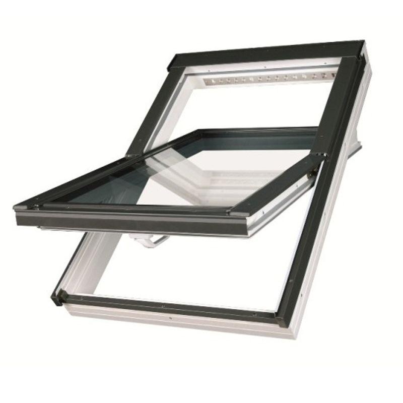 Окно мансардное Fakro PTP-V U3 550х980 мм ручка снизу<br>Бренд: Fakro; Коллекция: PTP-V U3; Тип окна: Мансардное; Размер: 550Х980 мм; Площадь остекления: 0,22 м?; Количество камер: Однокамерное; Форма: Прямоугольная; Расположение оси: По центру; Материал: ПВХ; Расположение рукоятки: Снизу; Заполнение камеры: Аргон; Особые свойства: Закаленное стекло; Особые свойства: Звукоизоляция; Цвет: Синий; Страна производитель: ПОЛЬША; Вес: 20,1 кг;