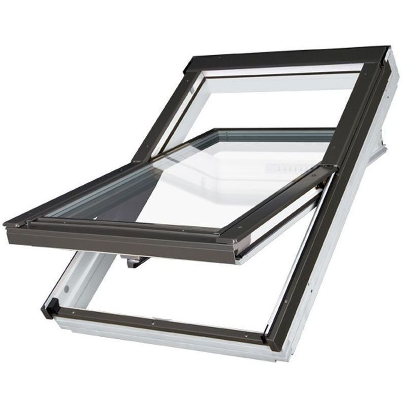 Купить Окно мансардное Fakro PTP-V U3 Z-Wave 1140х1180 мм ручка снизу, Синий, ПВХ, ПОЛЬША