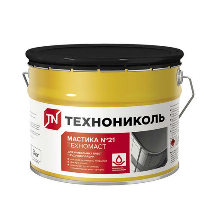Мастика Кровельная битумно-полимерная (Техномаст №21) 3 кгПредназначена для гидроизоляции бетонных, деревянных и других<br>строительных конструкций, антикоррозионной защиты металлических<br>поверхностей, ремонта всех видов кровель.<br><br>Бренд: ТехноНИКОЛЬ; Название: Техномаст №21; Состав: Битумно-полимерная; Область применения: Для фундамента; Область применения: Для кровли; Расход: 3,8 - 5,7 кг/м?; Температура нанесения: От -20 до +40 °С; Теплостойкость: 90 °С; Основание: Бетон; Основание: Кирпич; Время нанесения следующего слоя: через 24 часа; Дальнейшая обработка: Через 24 часа после полного высыхания; Вес: 3 кг; Срок годности: 18 мес;