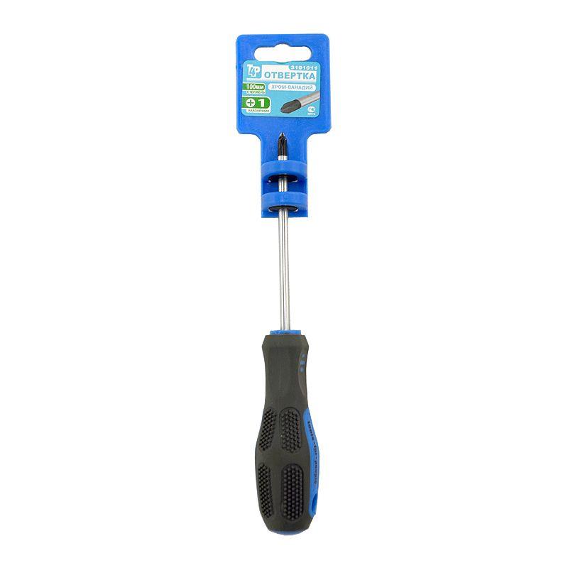Отвертка Сr-V PH № 1-100мм с 2-компонентной ручкой намагниченный наконечник Т4РОтвертка Cr-V PH No 1-100мм, Т4Р<br><br>Крестовая отвертка с диаметром стержня 5 мм и длиной стержня 100мм.<br><br>НАЗНАЧЕНИЕ:<br><br>Применяется для закручивания и откручивания крепежных элементов;<br>Используется при сборке и разборке резьбовых соединений.<br><br>ПРЕИМУЩЕСТВА:<br><br>Долговечность (стержень состоит из&amp;nbsp;хромванадиевой&amp;nbsp;стали &amp;ndash; это обеспечивает долгий строк службы инструмента и его стойкость к проявлению ржавчины);<br>Удобство в использовании (прорезиненная рукоятка &amp;ndash; обеспечивает удобный и прочный захват инструмента при работе; намагниченный наконечник &amp;ndash; для плотного прилегания отвертки к крепежу; в рукоятке имеется отверстие &amp;ndash; для подвешивания инструмента).<br><br>РЕКОМЕНДАЦИИ:<br><br>Перед тем, как начать работу проверьте, чтобы размеры рабочей части отвертки и контактного профиля крепежа совпадали;<br>Выбирайте для работы профиль отвертки, который соответствует типу крепежа;<br>Не рекомендуется использовать инструмент в качестве рычага, зубила, клина;<br>Рекомендуемый диапазон температур для использования от -40C до +70C, при сильном нагреве инструмента возможно повреждение стержня и плавление рукоятки;<br>После окончания работ удалите с отвертки грязь;<br>Храните инструмент в сухом месте.<br>Бренд: T4P; Конструкция: Магнитная; Форма шлица: Ph; Форма стержня: Круглый; Материал наконечника: Cr-v; Материал рукояти: Двухкомпонентная; Поводок под ключ: Нет; Поперечное сквозное отверстие в ручке: Да; Прорезиненная рукоять: Да; Длина: 100 мм; Диаметр стержня: 5 мм; Диаметр крепежа: Менее 3 мм; Комплектация: Отвертка; Количество предметов: 1  шт;